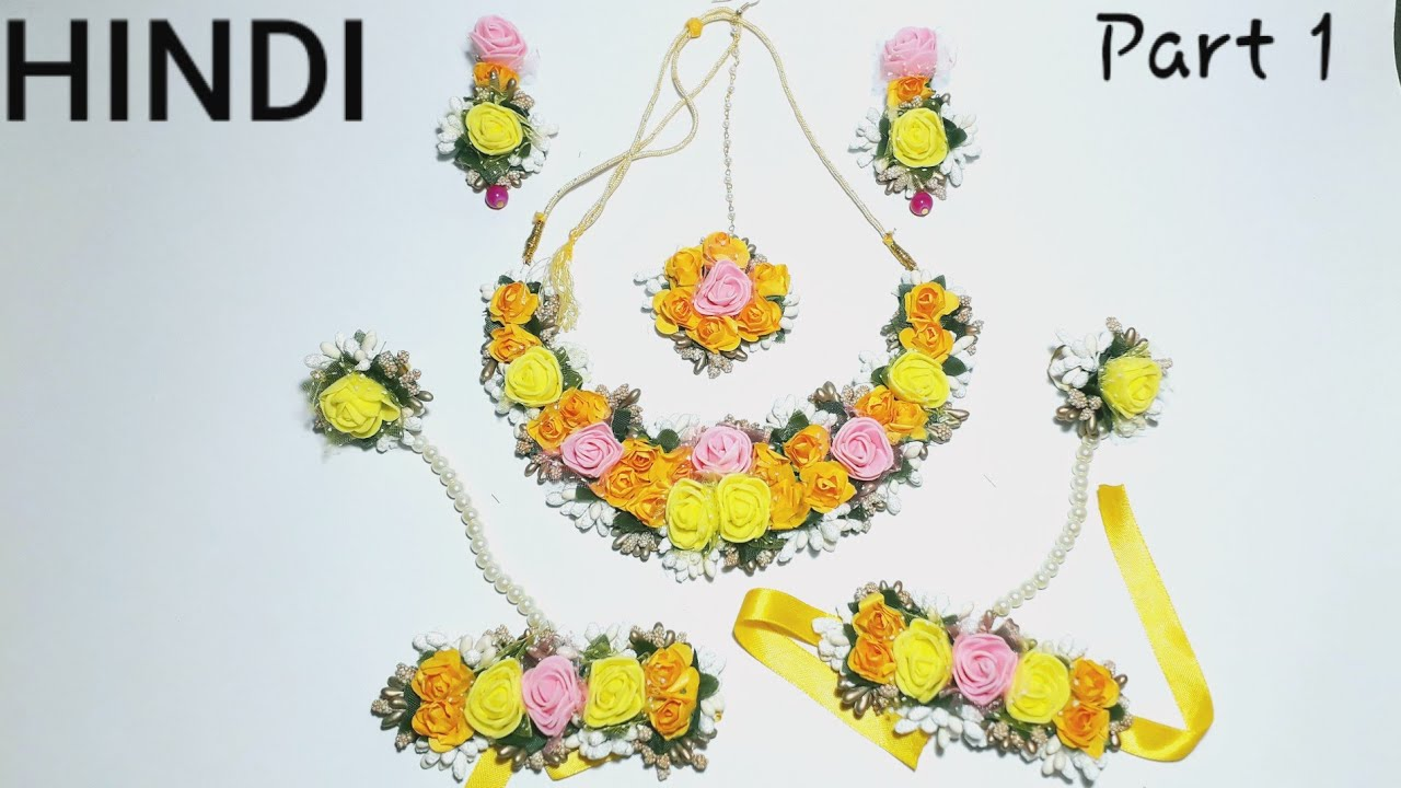Mehendi and Baby Show Functions Beautiful Set of Floral Jewelry in Yellow Color For Haldi