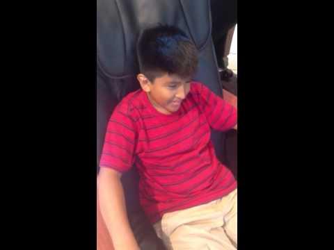 Little kid enjoys massage