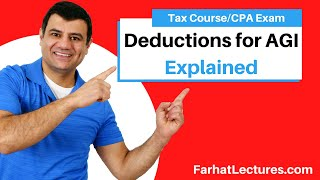 Gambar cover Deductions for AGI | Deductions From AGI | Tax  Cuts and Jobs Act | Income Tax course | CPA exam REG