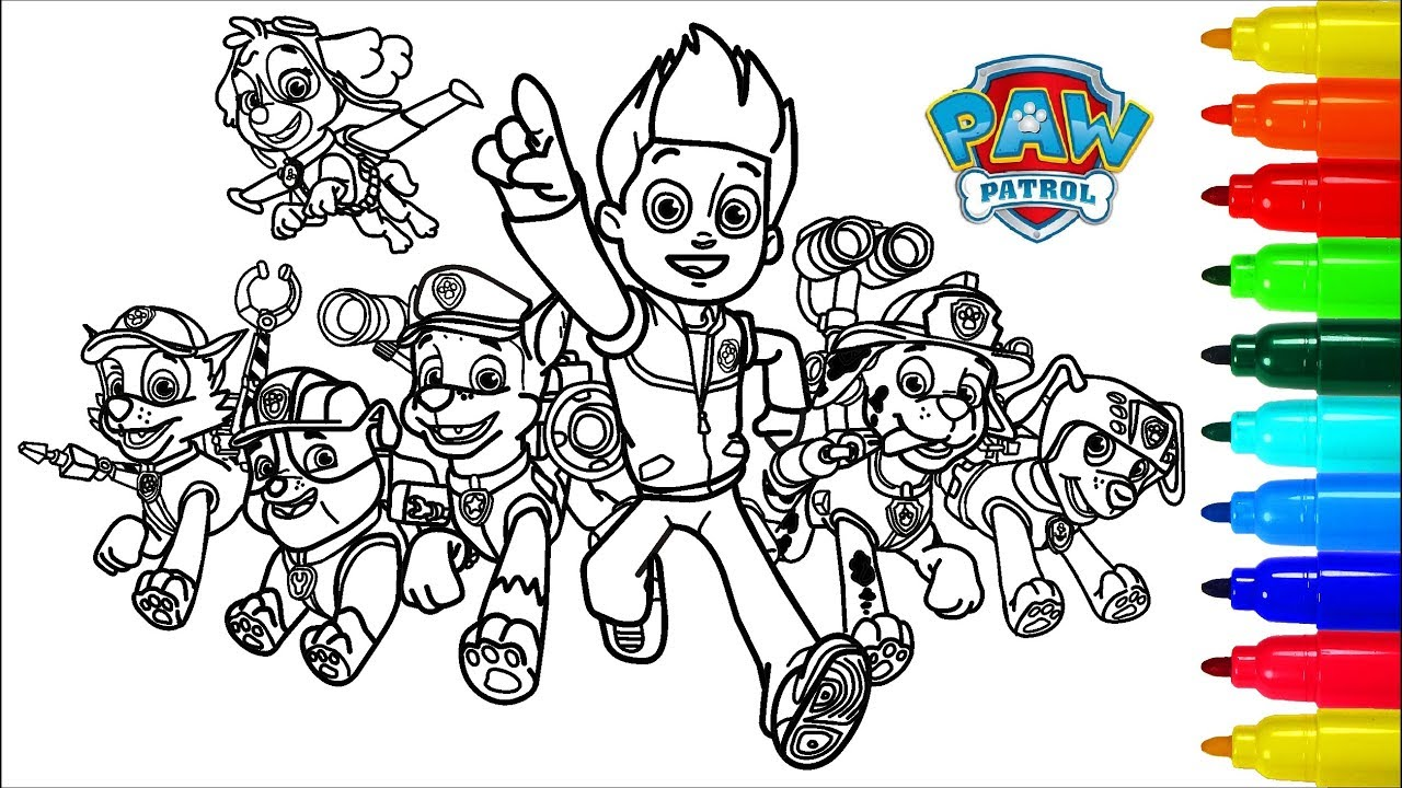 Paw Patrol Dragon Coloring Book Colouring Pages For Kids With Colored Markers