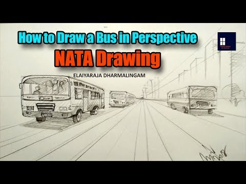 NID NIFT NATA JEE CEED Drawing - How to Draw a Bus | One Point Perspective