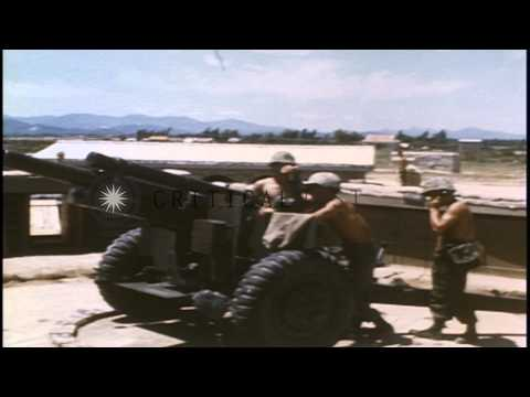ROK (Republic of Korea) Tiger Division soldiers fire a 105mm howitzer at enemy po...HD Stock Footage