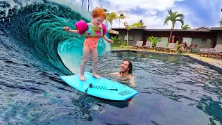 Future Surf Pro! Adley and Dad POOL PLAY routine with toys in Hawaii