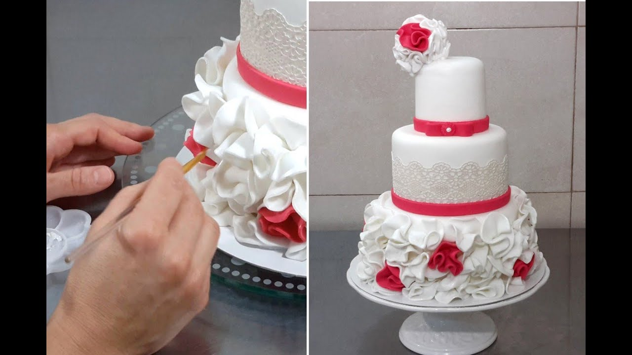 Wedding cake decorating with fondant sugar lace by cakes wedding cake decorating with fondant sugar lace by cakes stepbystep youtube junglespirit Images