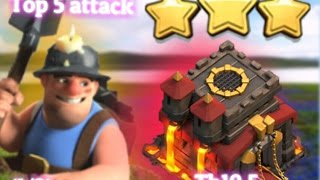 Top 5 war attack ➡ top attacks in th10 ✴top 5 miner attack coc war part (1/3)