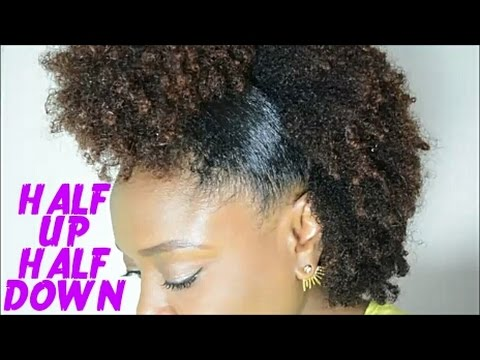 Half Up Half Down Natural Hair Tutorial Type 4 Hair Medium
