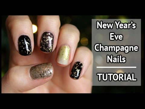 champagne new year's eve nail art tutorial  xameliax