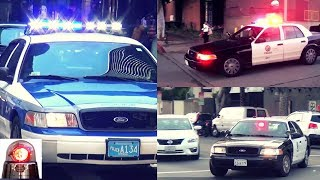 Compilation of Ford Crown Victoria Police Interceptor Cars Responding Lights and Sirens (Best of)