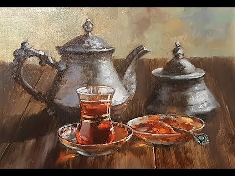 🔝 ХуДоЖнИкИ | Живопись маслом | Натюрморт | Чайный сервиз | Вугар Мамедов