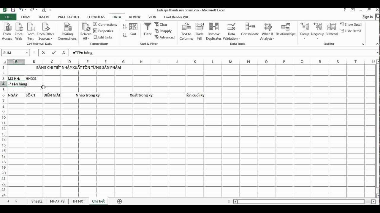 Hướng dẫn tạo file nhập xuất tồn bằng Excel