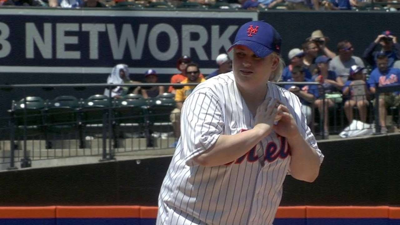 306bfb385 MIA NYM  Rebel Wilson throws ceremonial first pitch - YouTube