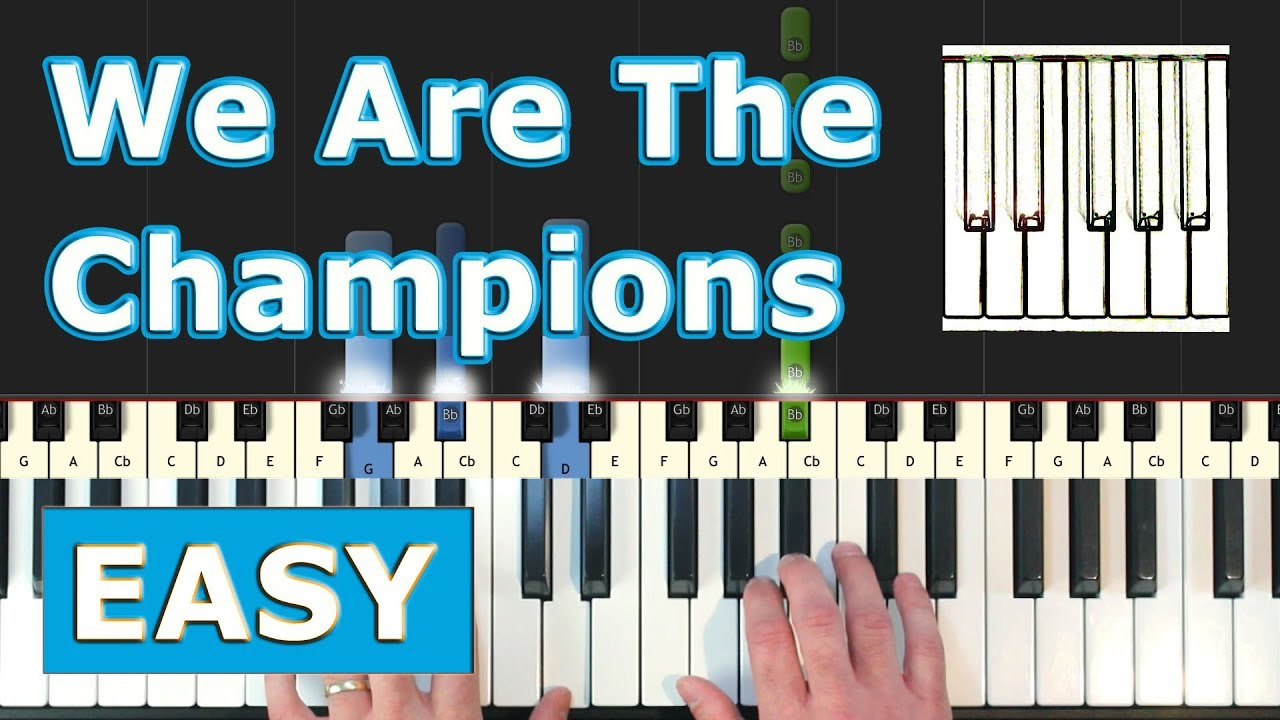 Queen - We Are The Champions - Piano Tutorial EASY - Sheet Music (Synthesia)
