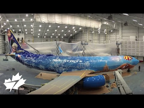 Painting the Disney Frozen-themed plane | WestJet