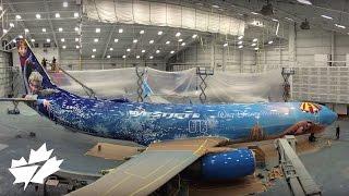 Painting the Disney Frozen-themed plane | WestJet