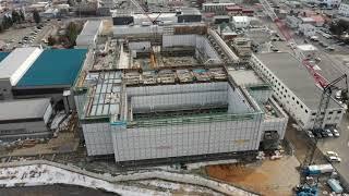 帯広市総合体育館建設中の様子 - 2019年3月6日撮影
