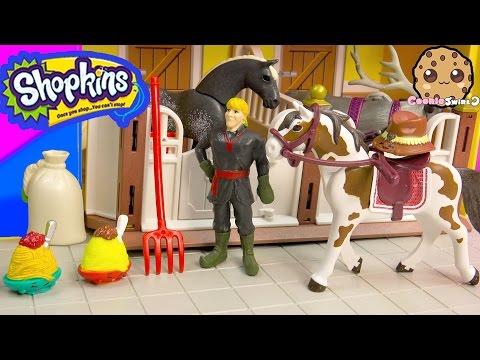 Shopkins Season 3 and Frozen's Kristoff At Playmobil Horse Farm Barn - Toy Play Video - Cookieswirlc