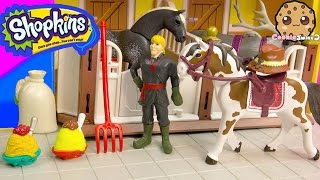 Shopkins Season 3 and Frozen's Kristoff At Playmobil Horse Farm Barn - Toy Play Video - Cookieswirlc
