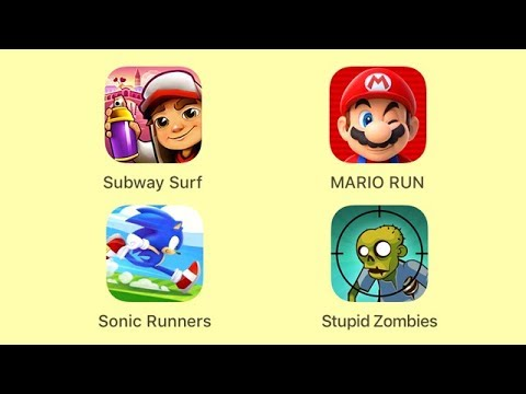 Subway Surfer, Super Mario Run, Sonic Runners, Stupid Zombies [iOS Gameplay] - 동영상