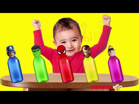 Thumbnail: Crying Bad Baby Spiderman vs Masha Minions Mega Gummy Bear Colors Learn Finger Family Collection