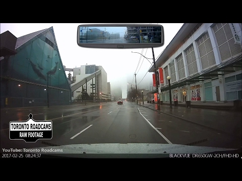 Driving in Toronto - Foggy & Rainy Saturday Morning Drive - Combined View - 2017