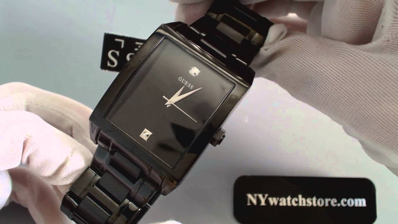 men s black guess dress diamond watch u12557g1