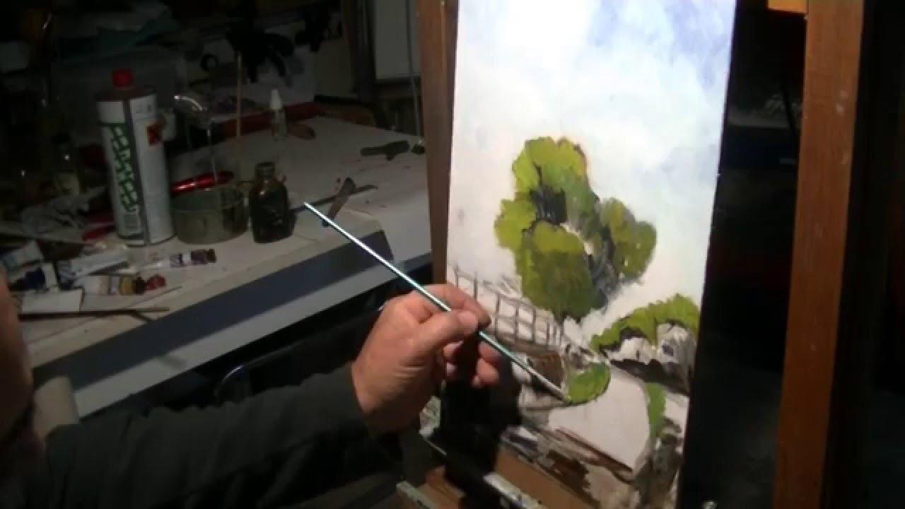 Semplice paesaggio con albero olio su tela riportata for Quadri da copiare