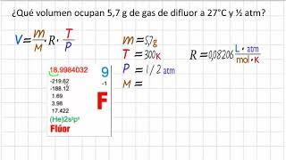 Calculando el volumen del gas con los gramos en un problema de gases