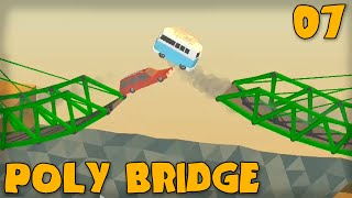 "POLY BRIDGE Gameplay Part 7 - ""SO MANY JUMPS!!!"" (Bridge Building Game)"