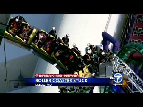 Six Flags America S Jokers Jinx Roller Coaster Gets Stuck