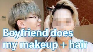 🙈boyfriend does korean makeup and hair on me!