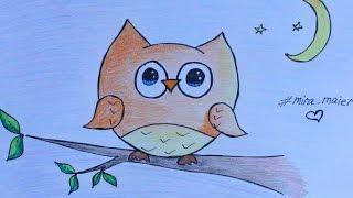 Как нарисовать сову легко и мило | ПРОСТО РИСУЮ | #5(Привет всем! В этом видео я рисую миленькую сову самым, на мой взгляд, простым способом) Ставь большой пальч..., 2016-04-02T17:51:26.000Z)