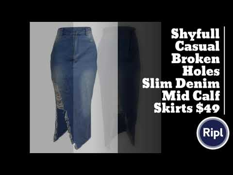 286f6d1c0d Shyfull Casual Broken Holes Slim Denim Mid Calf Skirts $49 - YouTube