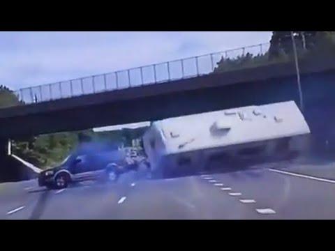 Camper Flips Over on Highway