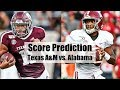 Alabama Crimson Tide Football vs. Texas A&M Score Predictions