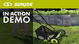 MJ501M - Sun Joe Mow Joe 18-IN Manual Reel Mower w/ Grass Catcher - Live Demo