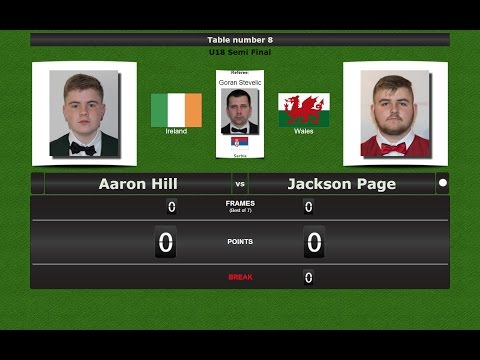 Snooker U18 1/2 Final : Aaron Hill vs Jackson Page