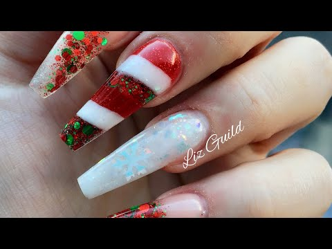 Acrylic Nails | Xmas Nails | Candy Cane | Not Polish