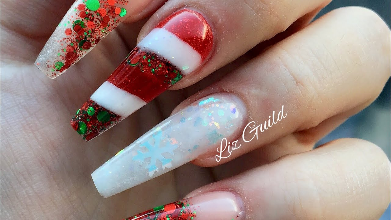 Acrylic Nails Christmas.Acrylic Nails Xmas Nails Candy Cane Not Polish