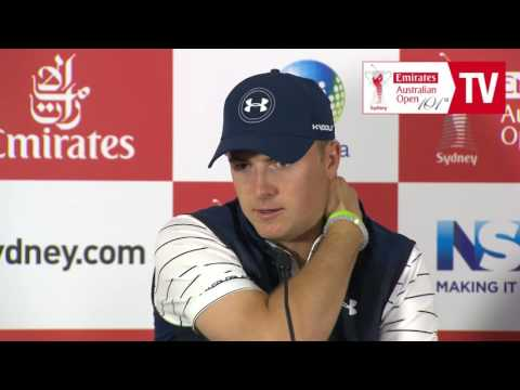 Jordan Spieth media conference before 2016 Emirates Australi