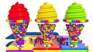 Learn Colors with 3D Cone Soft Ice Cream for Children