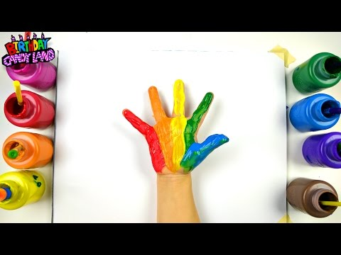 Learn Colors for Kids and Hand Paint Hands with Paint and Stamp Colors and a Tree