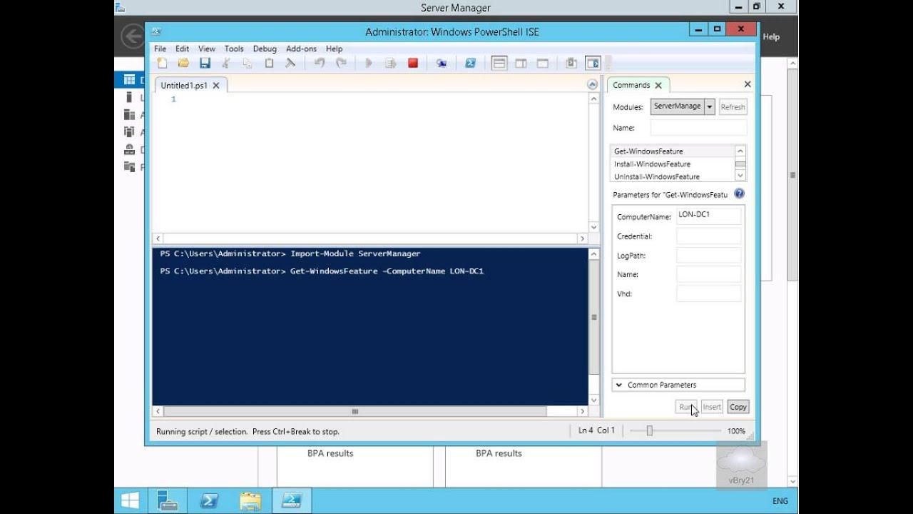 20410 Demo5 Using Windows PowerShell ISE