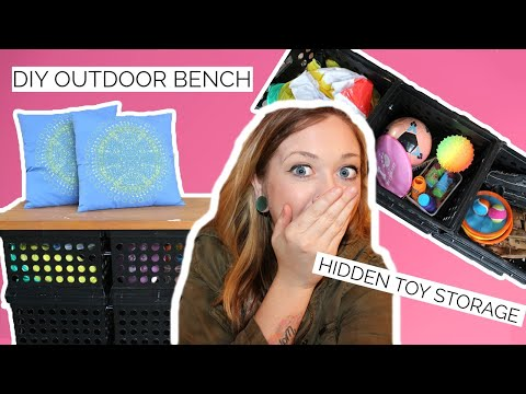 DIY OUTDOOR STORAGE AND BENCH | ON A BUDGET