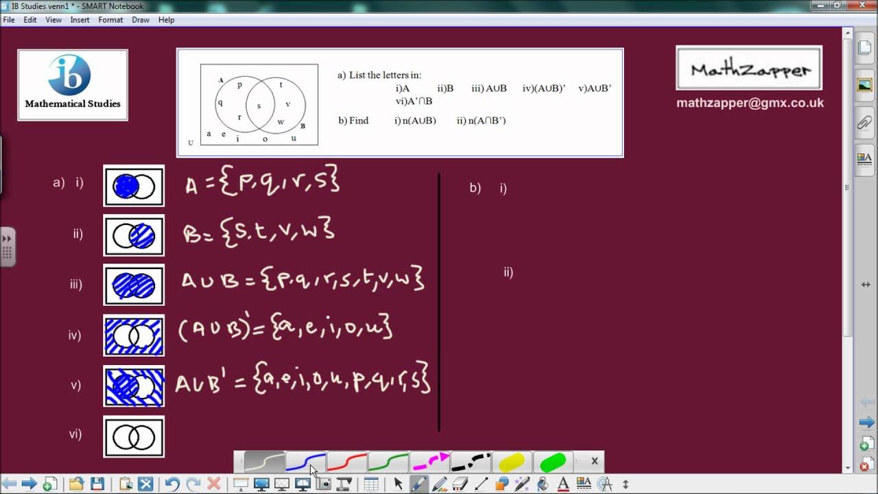 Ib Math Studies Venn Diagrams John Deere 310c Alternator Wiring Diagram And Sets Mathematical Youtube