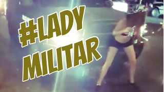 Drunk mexican young girl lap dances to a militar truck in Mexico