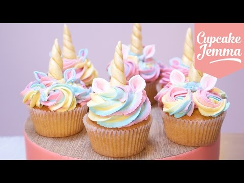 Cute Unicorn Cupcakes with Magic Horns and Ears! | Cupcake Jemma