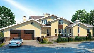 Проект дома в современном стиле. Дом с сауной, бассейном, гаражом и террасой. Ремстройсервис М-146