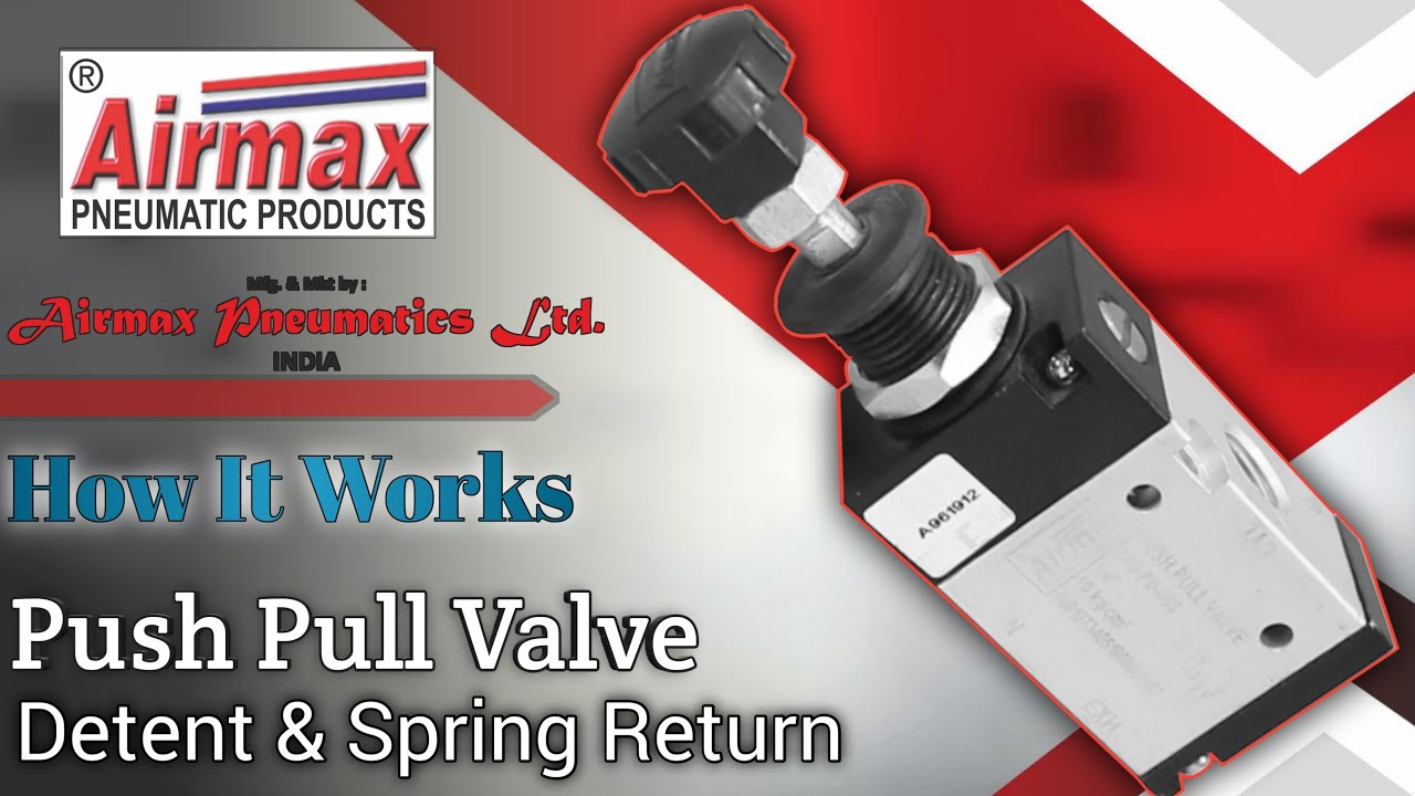 How Push Pull Valve Works Detent & Spring Return | Working Animation Video | Airmax Pneumatics LTD.