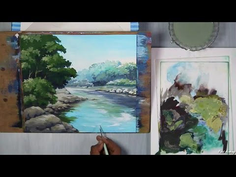 Acrylic Painting    How to Paint A Riverside Landscape