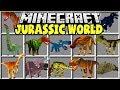 Minecraft JURASSIC WORLD MOD   TREX, VELOCIRAPTORS, TRICERATOPS, & MORE!!